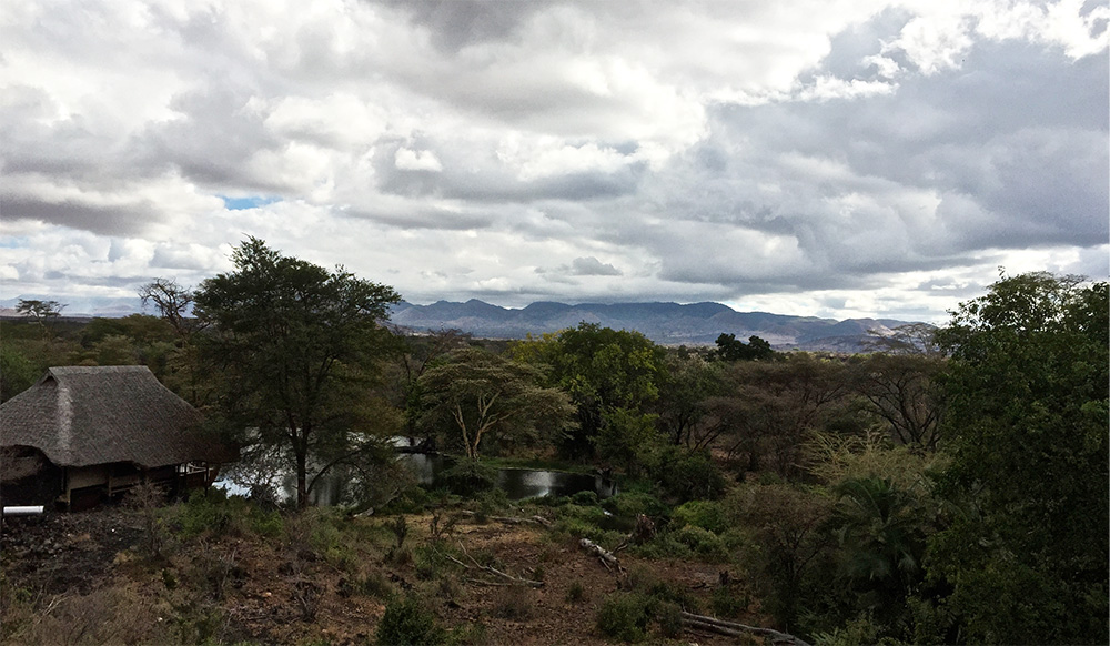 The Chyulu Hills with one of the new Tent Suites in the foreground